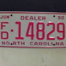 1990 North Carolina NC Dealer License Plate Tag #FD-14829