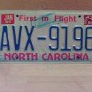 1987 North Carolina First in Flight License Plate NC #AVX-9196