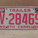 1986 North Carolina NC Trailer License Plate EX V-28469