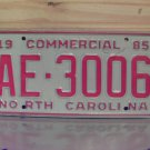 1985 North Carolina Commercial Truck License Plate Tag NC #AE-3006 Mint YOM