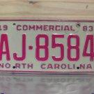 1983 North Carolina Commercial Truck License Plate NC #AJ-8584