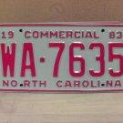 1983 North Carolina NC Common Carrier Truck License Plate Tag #WA-7635