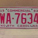 1983 North Carolina NC Common Carrier Truck License Plate Tag #WA-7634