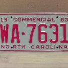 1983 North Carolina NC Common Carrier Truck License Plate Tag #WA-7631