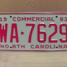 1983 North Carolina NC Common Carrier Truck License Plate Tag #WA-7629