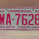 1983 North Carolina NC Common Carrier Truck License Plate Tag #WA-7628