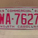 1983 North Carolina NC Common Carrier Truck License Plate Tag #WA-7627