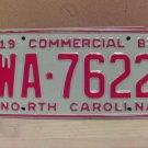 1983 North Carolina NC Common Carrier Truck License Plate Tag #WA-7622