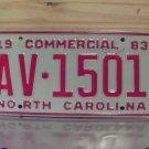1983 North Carolina NC Commercial Truck License Plate Mint #AV-1501