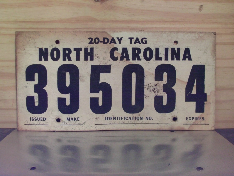 1983 North Carolina 30 Day Temporary License Plate NC #395034