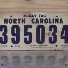 1983 North Carolina 30 Day Temporary License Plate NC #395034
