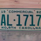 1982 North Carolina Truck YOM License Plate EX NC AL-1717