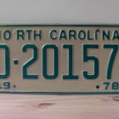 1978 North Carolina EX Trailer YOM License Plate NC #D-20157