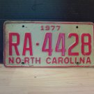 1977 North Carolina Rental Car 'U-Drive-It' License Plate NC #RA-4428