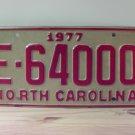 1977 North Carolina EX Trailer License Plate NC #E-64000