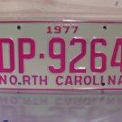 1977 North Carolina EX Truck YOM License Plate NC DP-9264