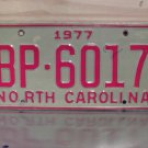 1977 North Carolina EX Truck YOM License Plate NC BP-6017