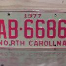 1977 North Carolina EX Truck YOM License Plate NC AB-6686