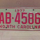 1977 North Carolina EX Truck YOM License Plate NC AB-4586
