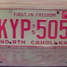 1977 North Carolina License Plate NC #KYP-505