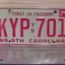 1977 North Carolina NC Passenger YOM License Plate EX KYP-701