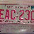1976 North Carolina NC License Plate Tag EAC-230