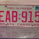 1976 North Carolina NC License Plate Tag EAB-915