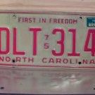 1976 North Carolina NC License Plate Tag DLT-314