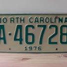 1976 North Carolina YOM NC Trailer License Plate Tag EX A-46728
