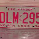 1975 North Carolina NC License Plate Tag DLM-295