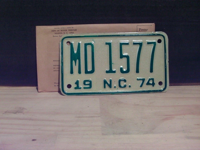 1974 North Carolina Motorcycle YOM License Plate NC MD-1577 Mint