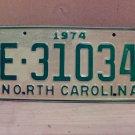 1974 North Carolina Trailer License Plate NC E-31034 VG Unissued