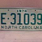 1974 North Carolina Trailer License Plate NC E-31039 VG Unissued