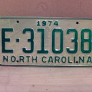 1974 North Carolina Trailer License Plate NC E-31038 VG Unissued