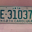 1974 North Carolina Trailer License Plate NC E-31037 VG Unissued