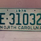 1974 North Carolina Trailer License Plate NC E-31032 VG Unissued