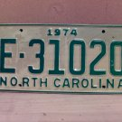 1974 North Carolina Trailer License Plate NC E-31020 VG Unissued