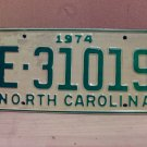 1974 North Carolina Trailer License Plate NC E-31019 VG Unissued