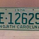1974 North Carolina Mint YOM Trailer License Plate NC E-12629