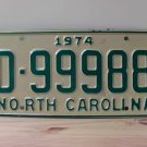 1974 North Carolina Mint YOM Trailer License Plate NC D-99988