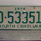 1974 North Carolina Mint YOM Trailer License Plate NC D-53351