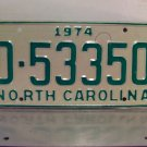 1974 North Carolina Mint YOM Trailer License Plate NC D-53350