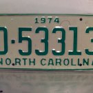 1974 North Carolina Mint YOM Trailer License Plate NC D-53313