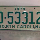 1974 North Carolina Mint YOM Trailer License Plate NC D-53312