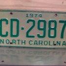 1974 North Carolina YOM Truck License Plate Tag NC CD-2987