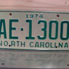 1974 North Carolina YOM Truck License Plate Tag NC AE-1300