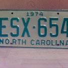 1974 North Carolina EX Random Number License Plate NC