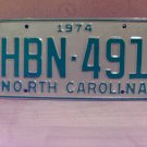 1974 North Carolina EX YOM Passenger License Plate NC HBN-491
