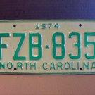 1974 North Carolina EX YOM Passenger License Plate NC FZB-835