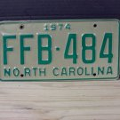 1974 North Carolina EX YOM Passenger License Plate NC FFB-484